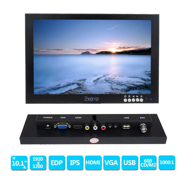 "Free shipping!10"" IPS LED HD 1920*1200 VGA Video Audio HDMI Monitor for Microscope,CCTV,DVD,PC"