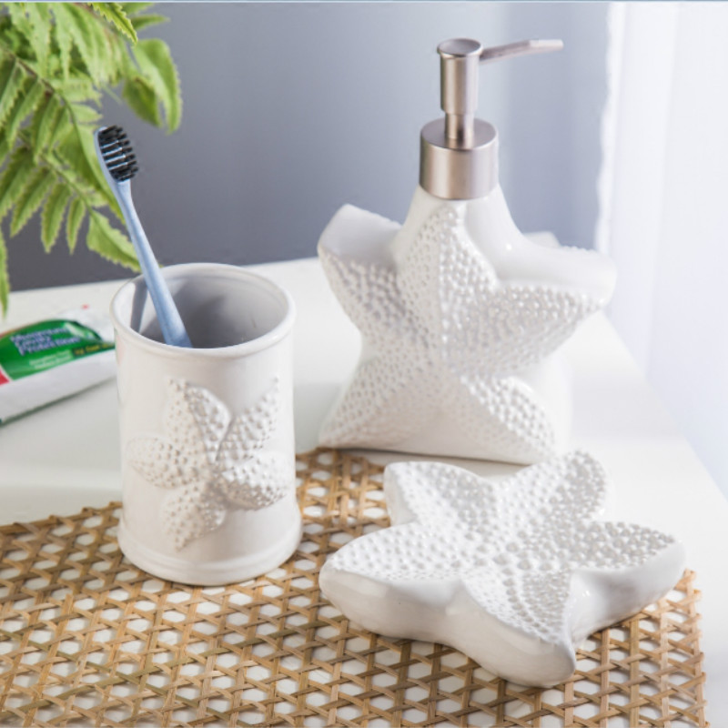 Nordic Sea Wind Ceramic Three Piece Bathroom Wash Set
