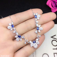 KJJEAXCMY boutique jewels 925 pure silver inlaid natural sapphire necklace Necklace snowflake support test