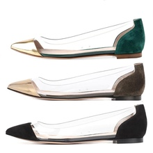 2019 summer and autumn flat womens shoes fashion transparent fabric pointed toe comfortable women