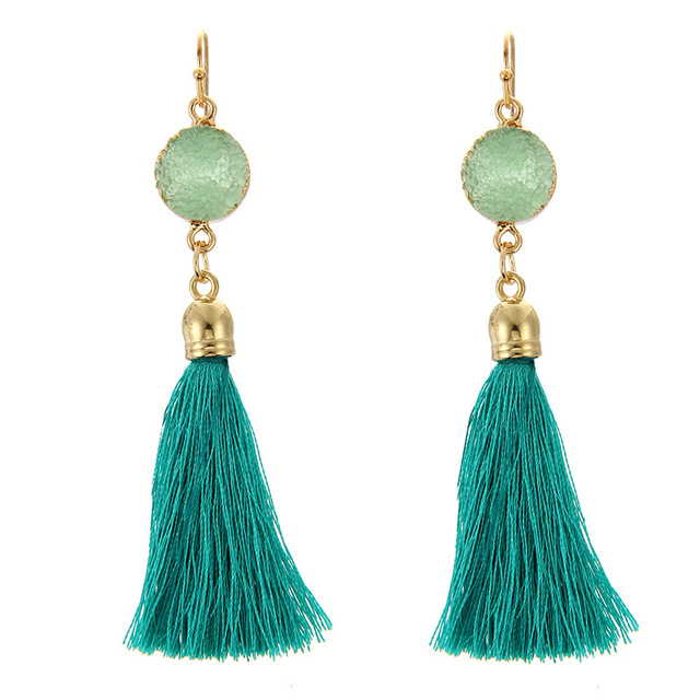 NEW Style 4 color trendy silk thread tassel earrings, High quality ethnic  round Resin Drop