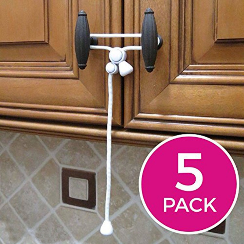 2PCS Baby Child Safety Cabinet Lock Door Lock Home Door Cabinet Safety Rope Lock Rope Buckle Door Hooks