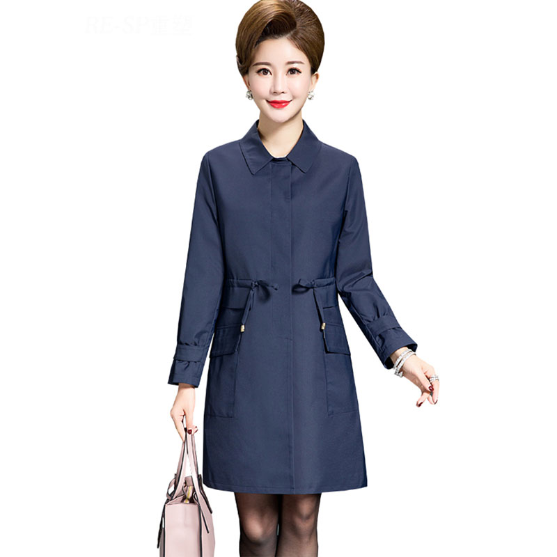 New 2019 spring autumn adjustable sashes slim waist   trench   coat women turn down collar single breasted outerwear plus size