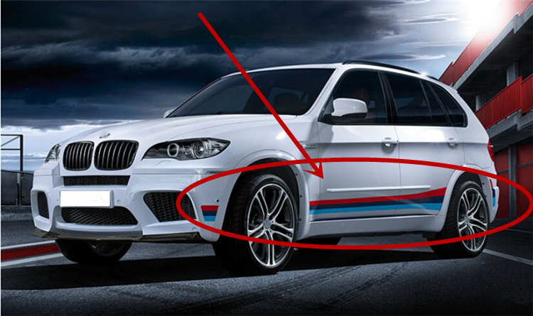 Car M Sport Side Skirts Decal Waist Line Stickers For Bmw