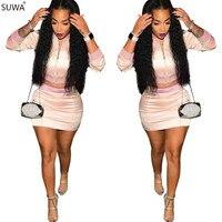 SUWA Populaire Style Femmes Deux Pièces Robe Courte Celebrity Parti Manches Longues Mini Robe Robes A8184