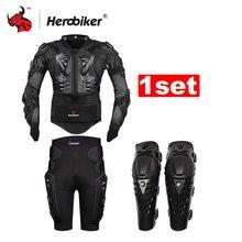 Herobiker мотокроссу мотоцикл Body Armor защитная куртка + Gears Короткие штаны + Защитная мотоциклетные наколенники мото Броня