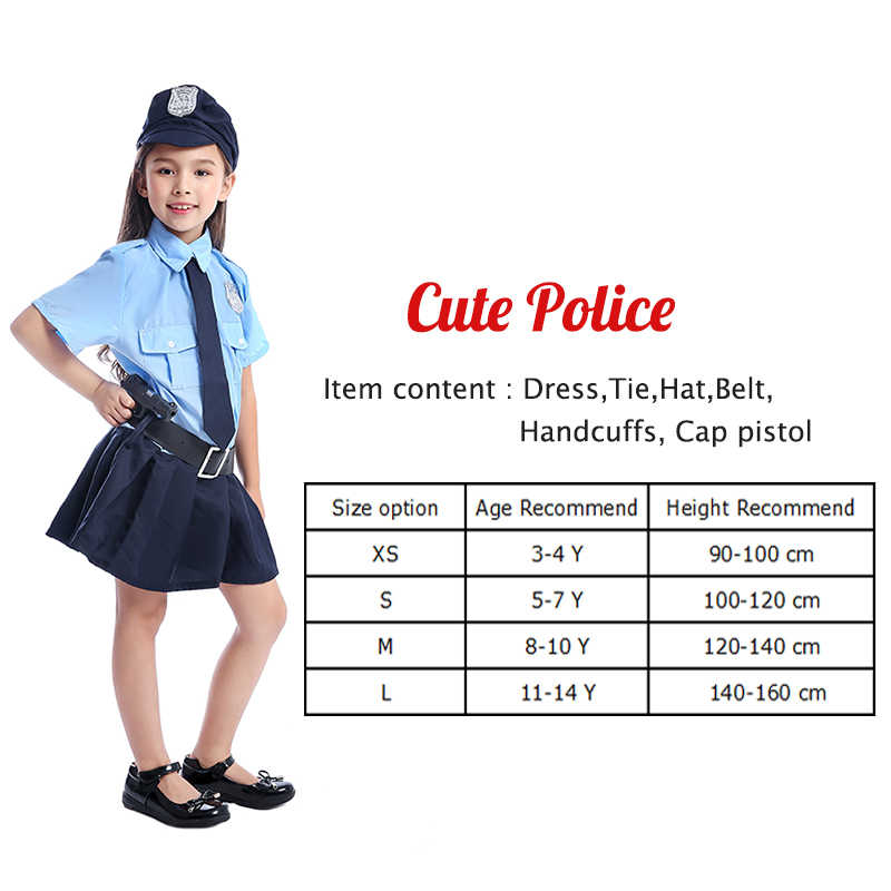 Halloween Costumes For Girls Age 10.Eraspooky Full Set Cute Police Dress Cosplay Cop Uniform Halloween Costume Kids Girl Police Officer Carnival Party Fancy Dress