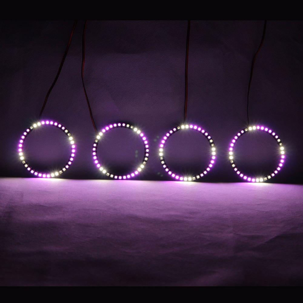 RGBW Angel Eyes Revolving Lights DRL LED Rolling Light Multi Color Wireless Control RF 80mm 90mm