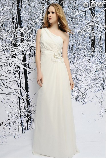 Free Shipping  2016 New Fashion White Long Dress Chiffon Sweetheart One Shoulder Bridesmaid Dresses Bridal Gown