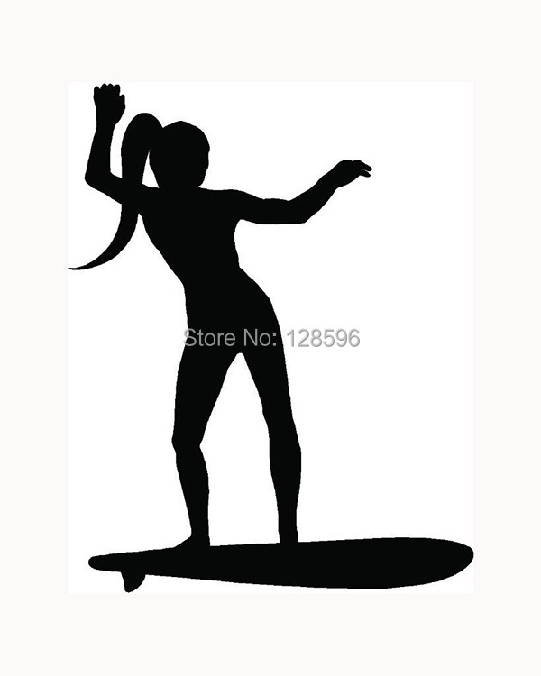 Sexy Surf Girl Sticker Surfer Wave Board For Car Rear Windshield Truck SUV Bumper Auto Door Laptop Kayak Vinyl Decal Hot Ocean