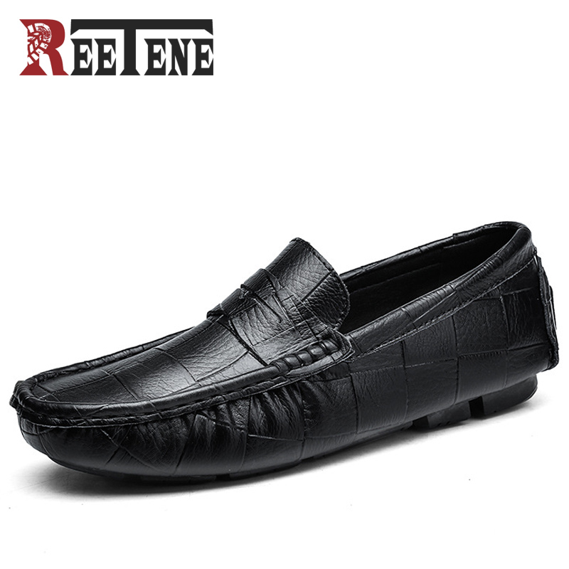 REETENE Genuine Leather Men Loafers High Quality Casual Shoes Men Fashion Leather Men Shoes Luxury Brand Flats Shoes Chaussure недорго, оригинальная цена