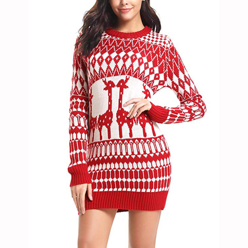 Women Christmas sweater Boho Maxi winter Beach Long Cocktail Party Floral knitted Print slim Pencil O-Neck Long sleeve top F80