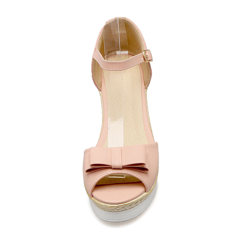 c5a77dfbd34b Fanyuan Best Price Ladies Wedges Sandals Elegant Butterfly Knot Women's  High Heels Ankle Strap Girl Party Wear Shoes White Pink-in High Heels from  Shoes on ...