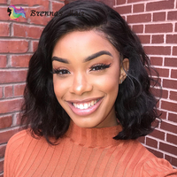 Pre Plucked Lace Front Human Hair Wigs Black Women Glueless Brazilian Remy Hair Body Wavy Short Bob Wigs Full End With Baby Hair
