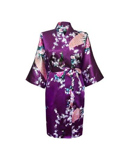 Purple Fashion Womenu0026#39;s Peacock Kimono Bath Robe Nightgown Gown Yukata Bathrobe Sleepwear With ...