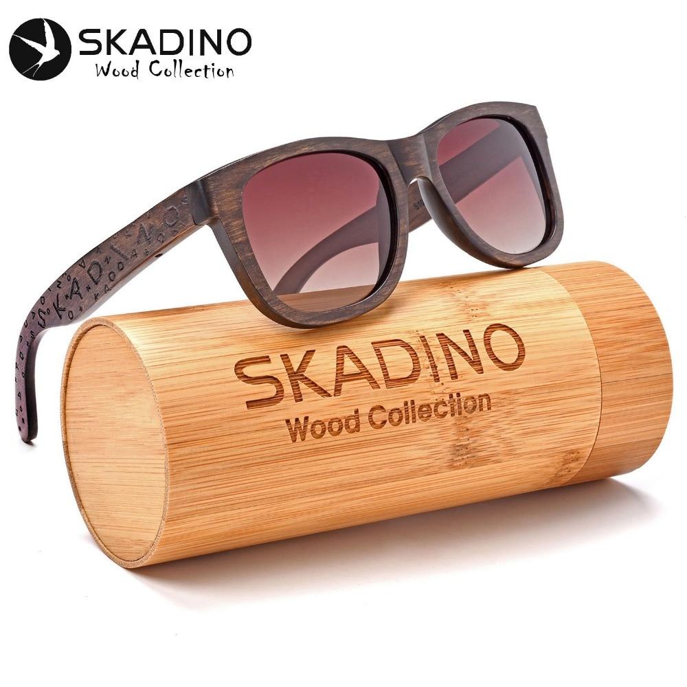 SKADINO UV400 Polarized Beech Wood Sunglasses Fashion Sun Glasses for Women Men Brown Yellow Lens Handmade Cool Brand