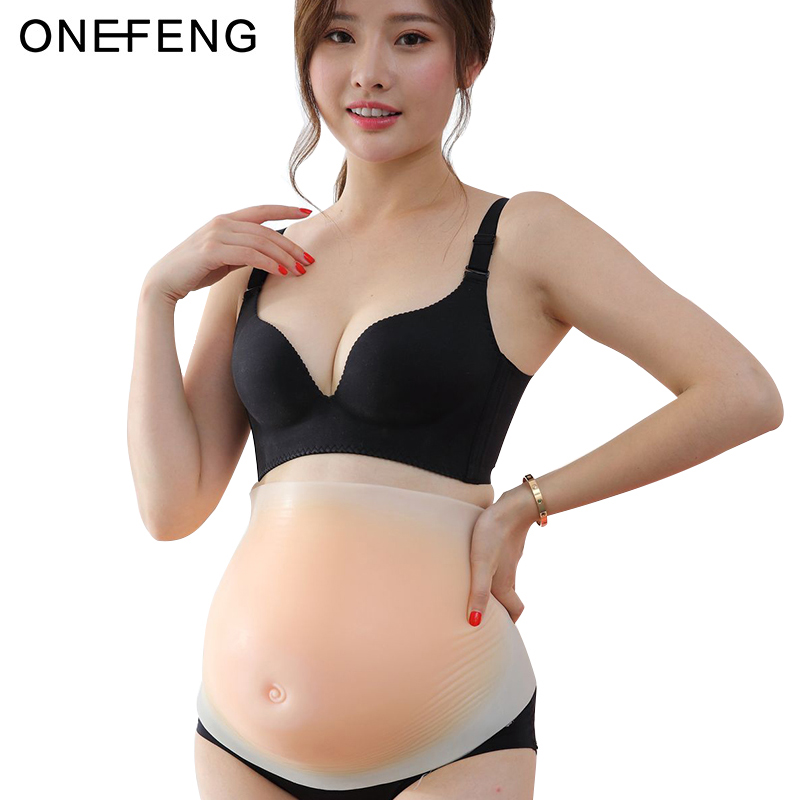 ONEFENG Unisex 2-5 month Simulation Pregnant Silicone Belly Fake Pregnant Belly Hook and Loop Style for Actor or Halloween toys кастрюля calve belly loop