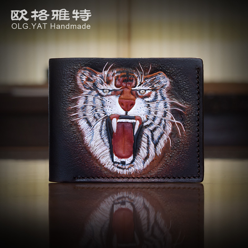 Hong Kong OLG. YAT zodiac Tiger handmade carving wallet Men's brief paragraph(vertical)purse/ wallet Italy  pure leather wallets mavala pearl mini colors 019 цвет 019 hong kong