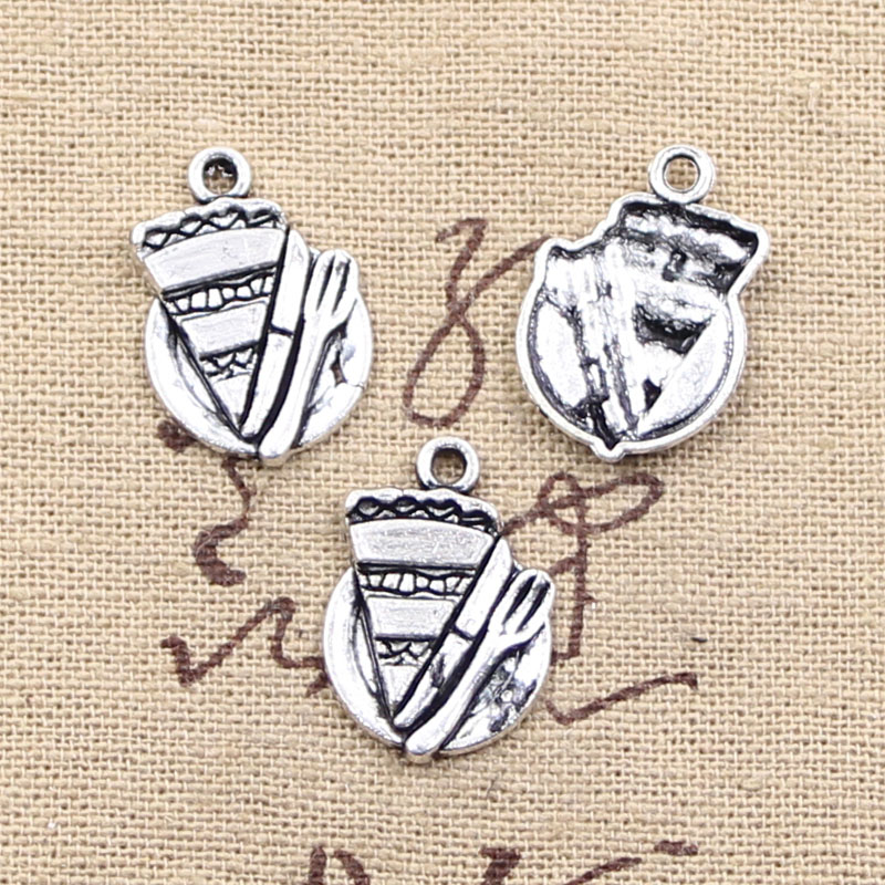 6pcs Charms slice of pie plate fork 20*14mm Antique Making pendant fit,Vintage Tibetan Silver,DIY bracelet necklace