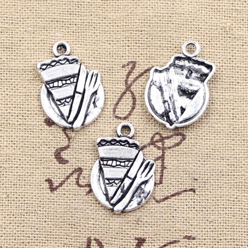 6pcs Charms slice of pie plate fork 20*14mm Antique Making pendant fit,Vintage Tibetan Silver,DIY bracelet necklace