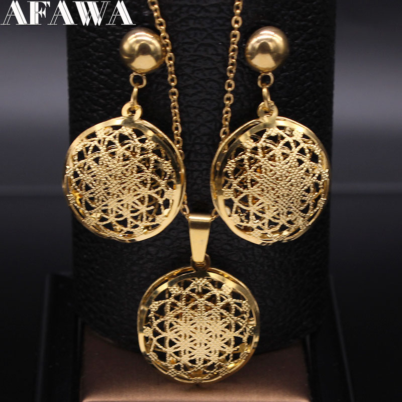 Flower of Life Stainless Steel Jewelry Set Women Hollow Gold Color Necklace Earrings Set Jewelry set acero inoxidable S1397S01