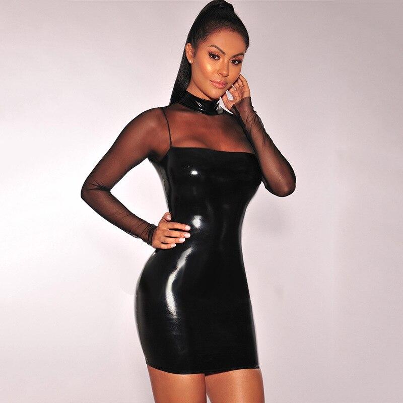Fetoo 2017 Women Sexy Dress Pu Leather Mesh Patchwork Long -2796