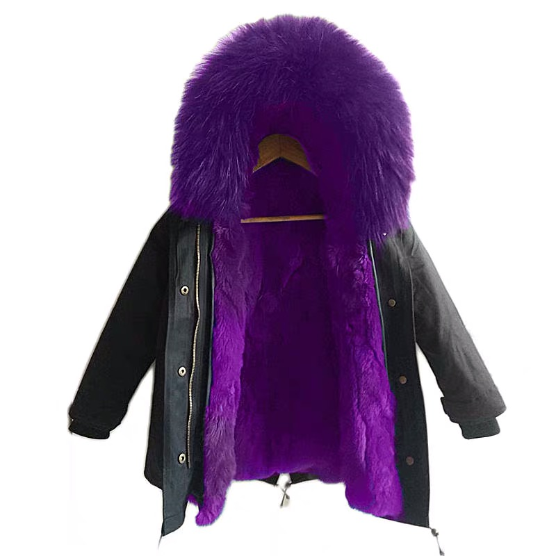 Childrens fur trench coat of the same style for men and women