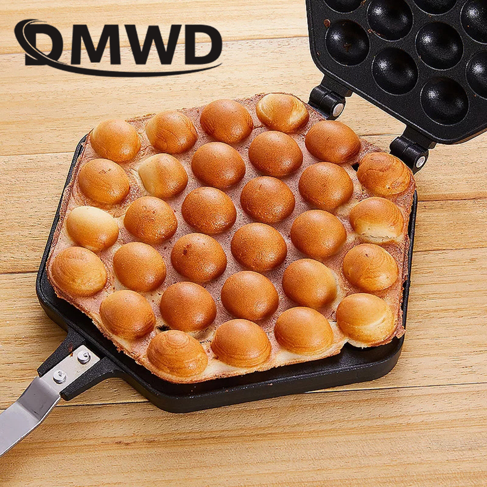 DMWD QQ Egg Bubble Cake Baking Pan Mold Eggettes Iron Aluminum Hongkong Waffle Maker Mould Non-stick Coating DIY Muffins Plate iron teflon non stick coating 12 in 1 muffin cup cake diy mold black