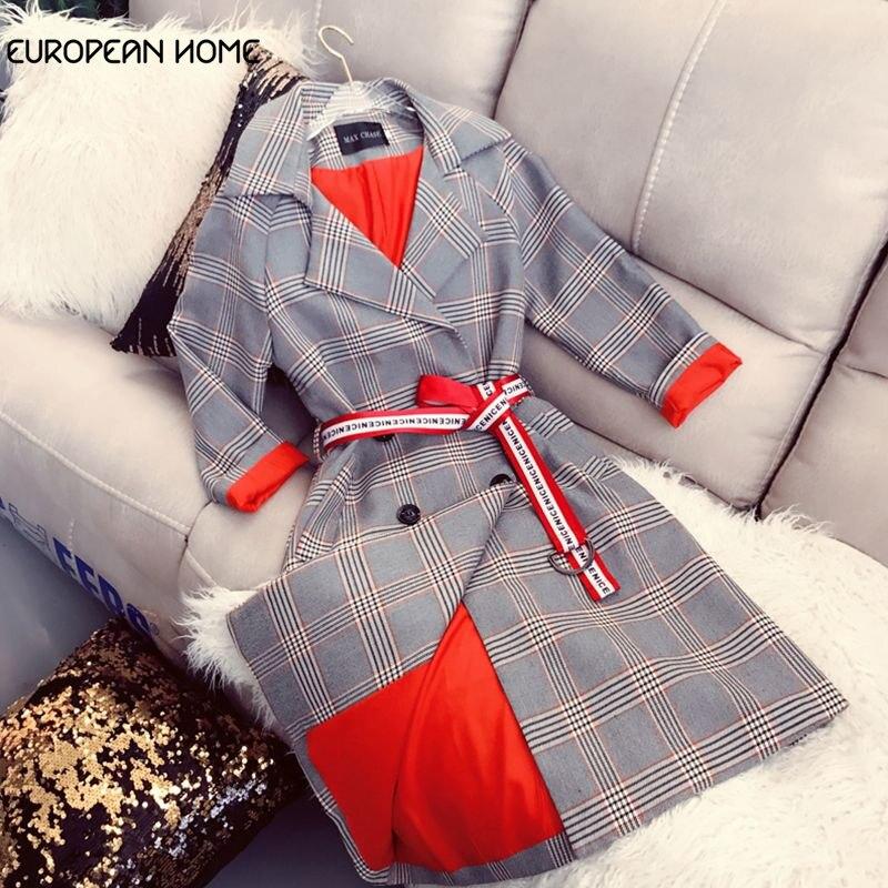 Spring Fashion   Trench   Coat women Medium-long Long Sleeve Vintage Plaid Turn-down Collar Women Windbreaker Casual Overcoat 887