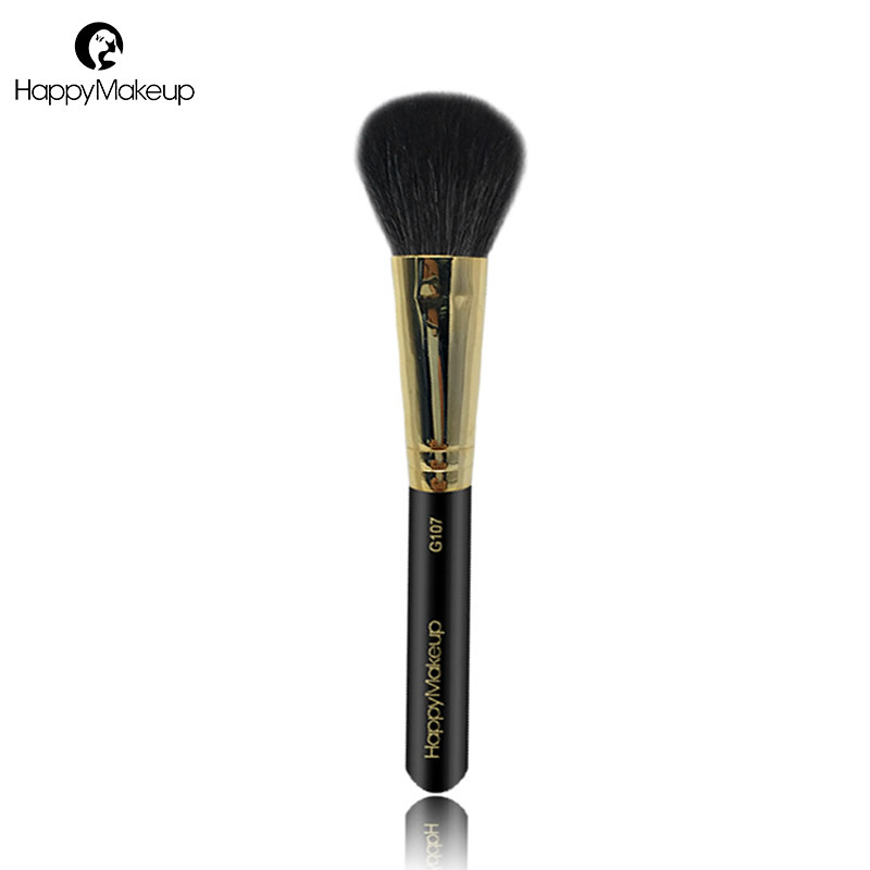 Happy Makeup Brush Professional Face Powder Blush Bronzer Brush Contour Cosmetic Brush Soft Natural Goat Hair High Quality 1Pcs high class goat hair dense bristle powder brush domed shape air kabuki brush face blush makeup brush