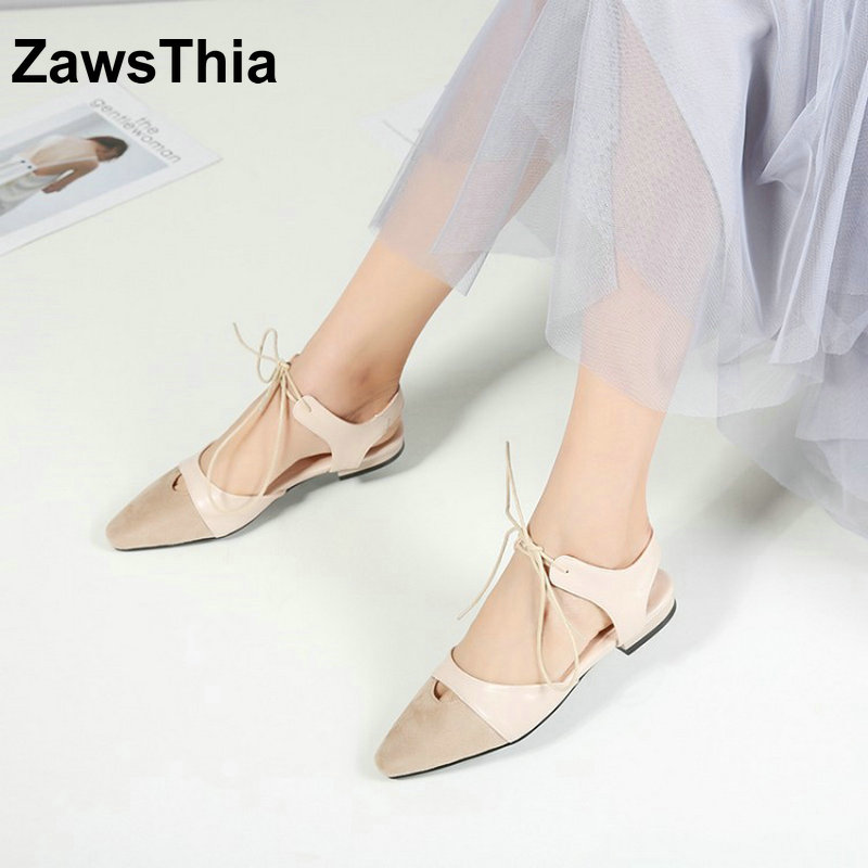 ZawsThia 2018 new patchwork casual woman's shoes pointed toe slingback lace up women flats summer shoes big size 33 41 42 43 44