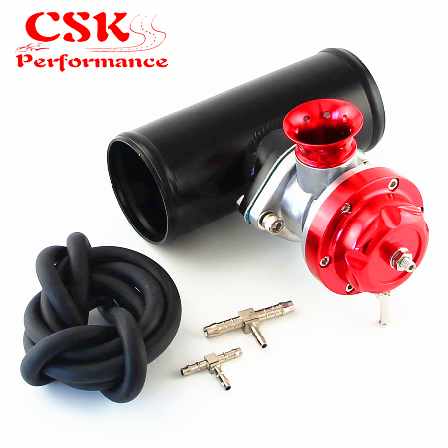 Type-SRS Turbo Charger BOV Blow Off Valve + 2 Alloy Flange Adapter Pipe Black  Blue Red