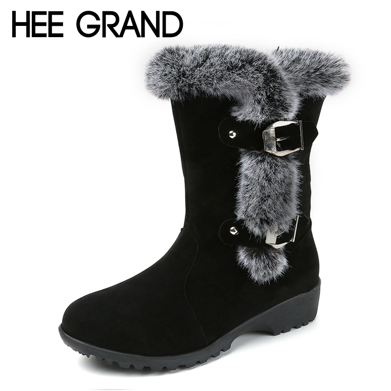 HEE GRAND Faux Fur Winter Snow Boots Flock Creepers Platform Warm Women Mid Calf Boots Casual Slip On Flats Shoes Woman XWM208 hee grand inner increased winter ankle boots warm fringe fashion platform women snow boots shoes woman creepers 3 colors xwx6180