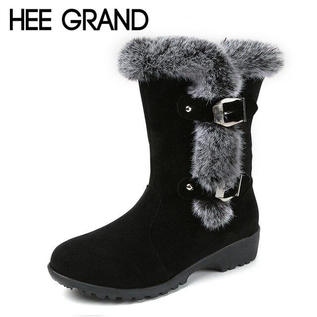 Women's Platform Non Slip Faux Fur Mid Calf Snow Boots