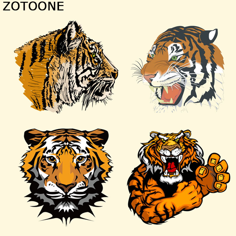 ZOTOONE Animals Patches Washable Iron-on Transfers for T-Shirt Jacket DIY Punk Stickers Clothes Lovely Tiger Appliques