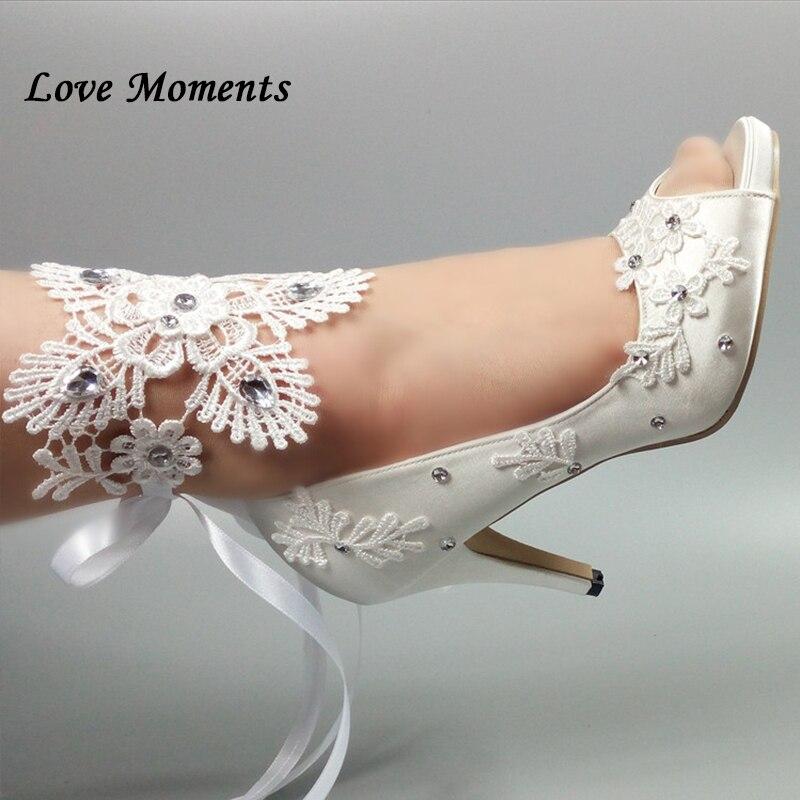 Peep Toe White lace up party shoes Women's Pumps Fish toe Wedding shoes Bridesmaid Dress shoes New fashion Pumps shoes-in Women's Pumps from Shoes    1