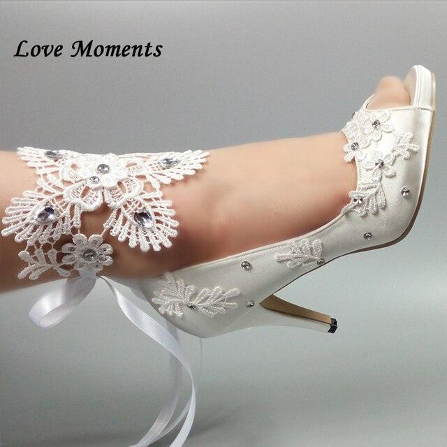 65c1d387801b Peep Toe White lace-up party shoes Women s Pumps Fish toe Wedding shoes  Bridesmaid Dress shoes New fashion Pumps shoes