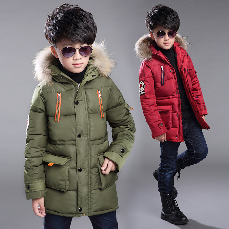 Boys Winter Jacket 2018 New Boys long section thick padded jacket Kids Fur collar Hooded coat children casual keep warm outwear brand infants costume series animal clothing set lion monster owl cow clasp elephant kangroo baby cosplay cute free shipping