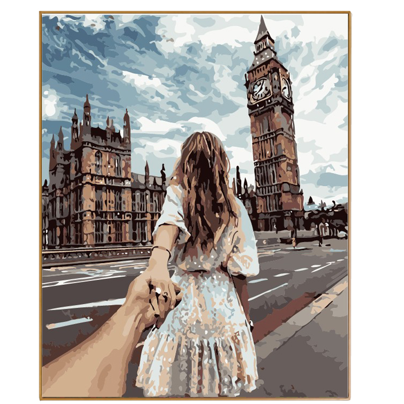 PHKV Street Hand In Hand Oil Painting By Numbers DIY Digital Pictures Coloring By Number On Canvas Unique Gifts Home Decor