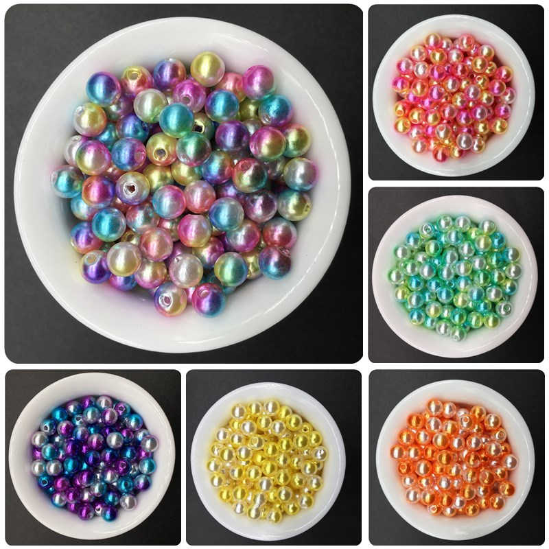 6mm 100pcs Circle Imitation Pearl Bead Handmade DIY Beads Simple Jewelry Accessories For Bracelet Necklace Fashion Pretty Gift