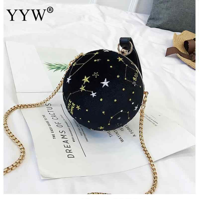 Retro Letter Embroidery Ball Women Shoulder Bag Women Round Clutch Bag  Evening Ladies Luxury Wedding Party 43dd2147d937