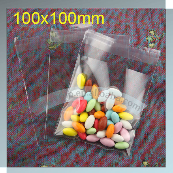 opp bag with self adhesive  (100x100mm) clear cellophane bags cellophane candy bags