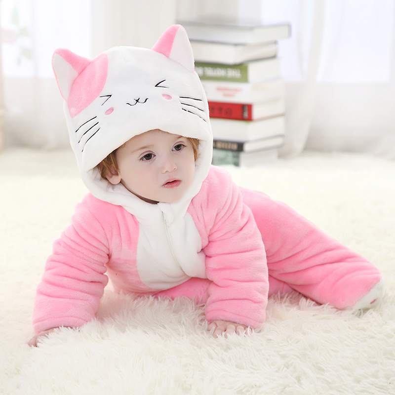 Thick Baby Girl Jumpsuits Sweet Cat Girl Cute Costume Winter Warm Baby Sweet Cat Jumpsuits Pajamas Party Cosplay Flannel Clothes недорго, оригинальная цена