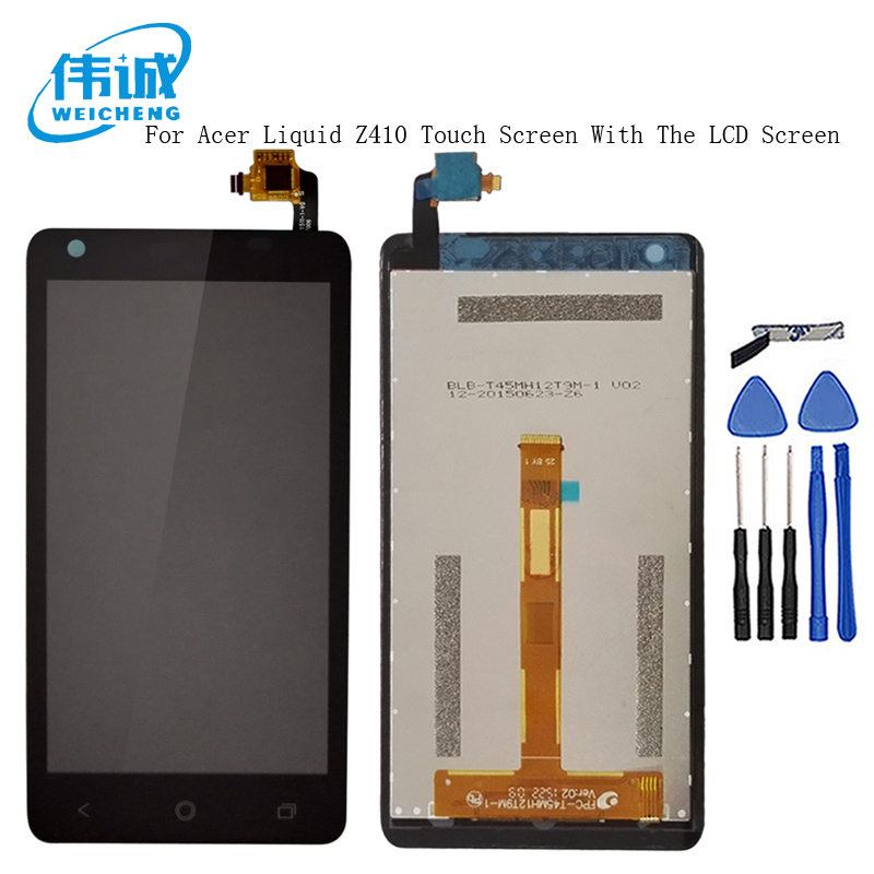 WEICHENG Top Quality <font><b>LCD</b></font> <font><b>4.5</b></font> <font><b>inch</b></font> For Acer Liquid Z410 Display + <font><b>Touch</b></font> Screen Panel Digitizer Glass assembly +tools image