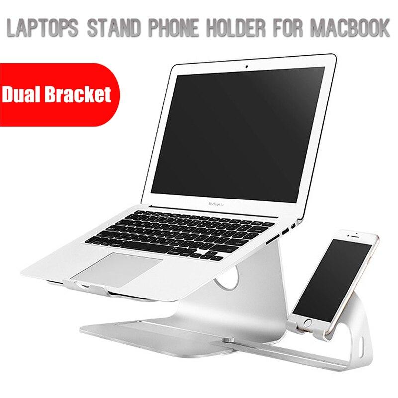 Двойной металлический кронштейн Тетрадь ноутбуки Настольная подставка держатель для MacBook для мобильного телефона