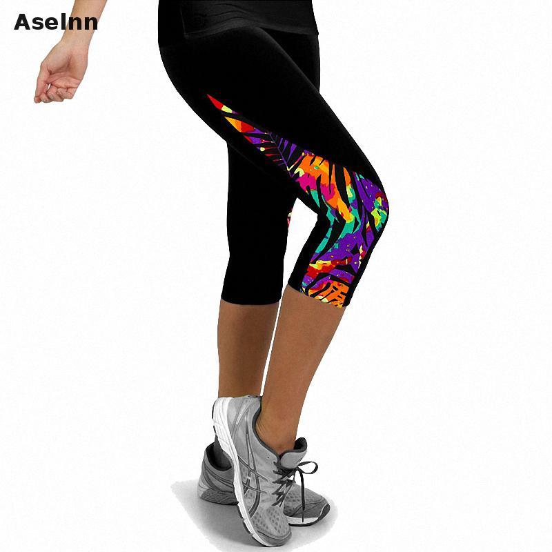 Aselnn 2019 Uued mood naised Capri säärised Kõrge taljeosaga trükitud naiste püksid Fitness püksid püksid naistele (11 värvi)