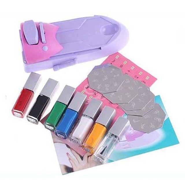 7 Colors DIY Nail Art Printer Pattern Nail Polish Printing Machine ...