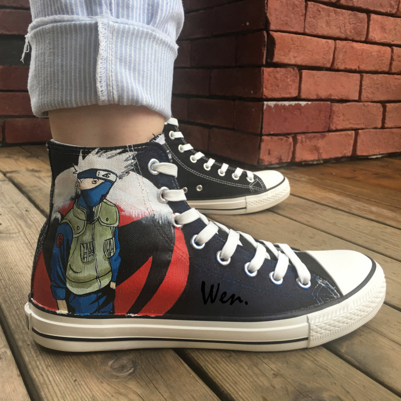 aa04aa3d24e0 Wen Hand Painted Anime Canvas Shoes Naruto Hatake Kakashi High Top Canvas  Sneakers Men Women s Birthday Gifts