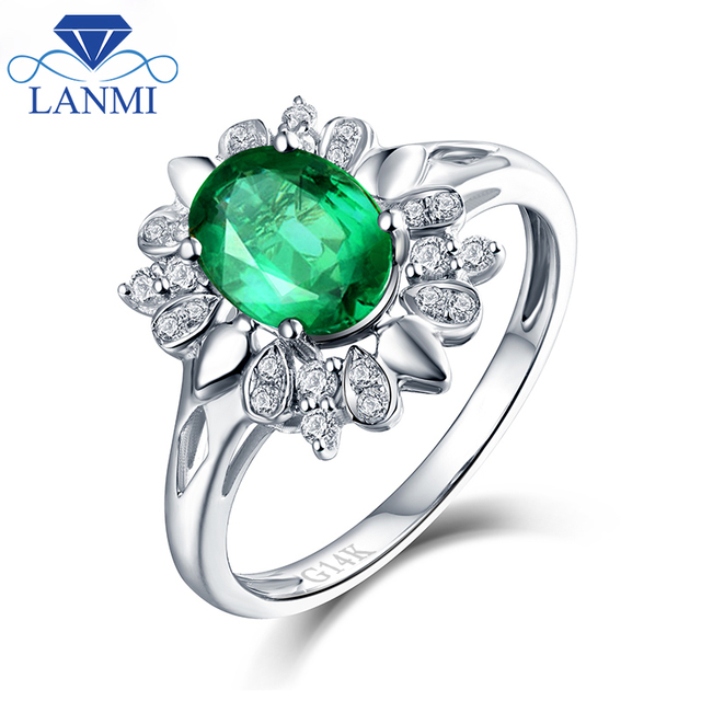 Flower Natural  Emerald Engagement Ring Real Solid 14K White Gold Wholesale Jewelry for Wife Anniversary Best Gift
