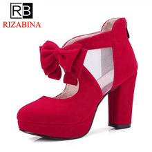 0d0784b0 RIZABINA al por mayor de gran tamaño 33-43 dulce arco tacón alto primavera  verano Zapatos bombas zapatos de moda de mujer fiesta.